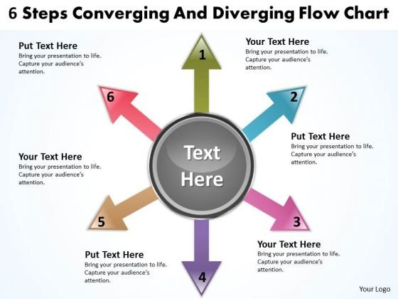 6 Steps Converging And Diverging Flow Chart Relative Cycle Arrow PowerPoint Slides