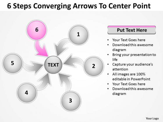 6 Steps Converging Arrows To Center Point Circular Flow Process Chart PowerPoint Slide