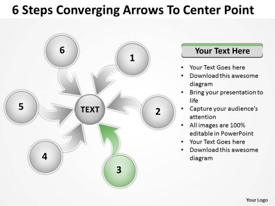 6 Steps Converging Arrows To Center Point Cycle Diagram PowerPoint Template