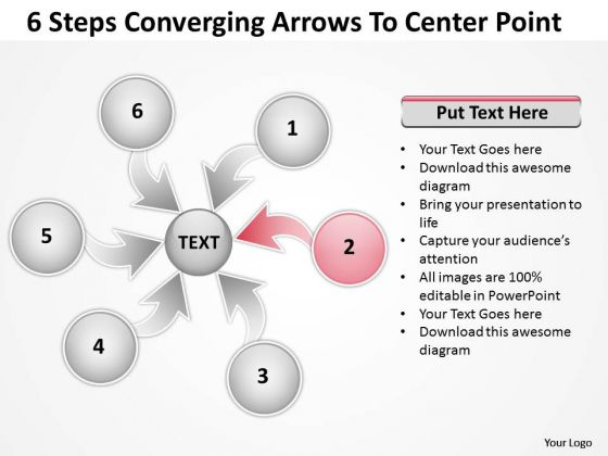 6 Steps Converging Arrows To Center Point Cycle Diagram PowerPoint Templates