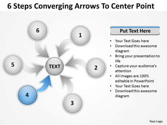6 Steps Converging Arrows To Center Point Ppt Cycle Diagram Template 1