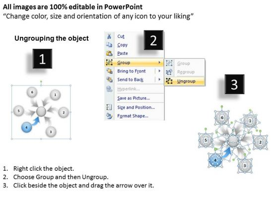 6 Steps Converging Arrows To Center Point Ppt Cycle Diagram Template 2
