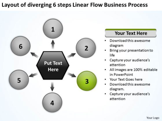 6 Steps Linear Flow Business Process Ppt Relative Circular Arrow PowerPoint Slides