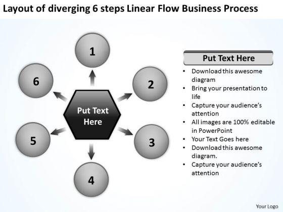 6 Steps Linear Flow Business Process Relative Circular Arrow PowerPoint Slides
