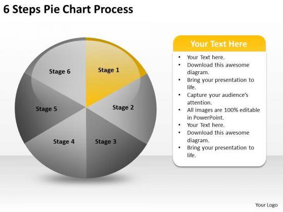 6 Steps Pie Chart Process Business Plan Template PowerPoint Slides