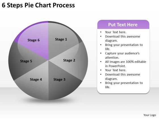 6 Steps Pie Chart Process Business Plan Worksheet PowerPoint Templates