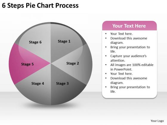 6 Steps Pie Chart Process Example Of Small Business Plan PowerPoint Slides