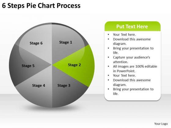 6 Steps Pie Chart Process Online Business Plan Software PowerPoint Templates