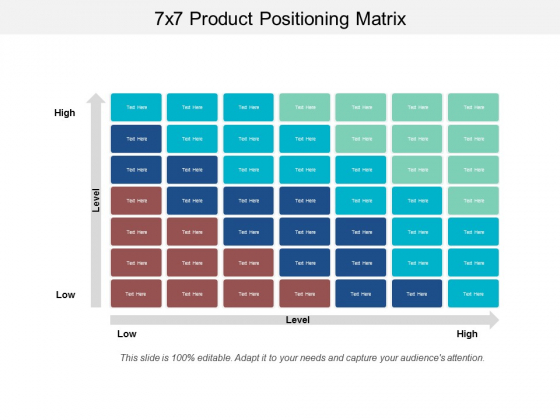 7X7 Product Positioning Matrix Ppt PowerPoint Presentation Summary Backgrounds