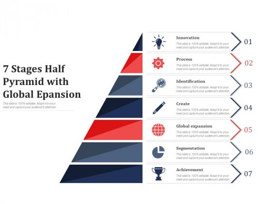 7 Stages Half Pyramid With Global Epansion Ppt PowerPoint Presentation Infographics Information PDF