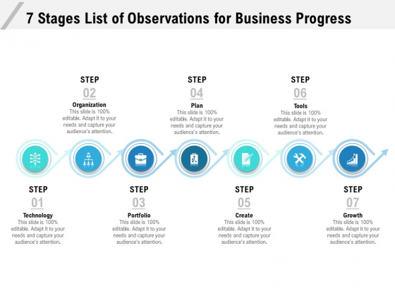 7 Stages List Of Observations For Business Progress Ppt PowerPoint Presentation File Graphics Example PDF