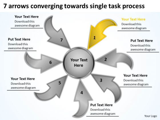 7 Arrows Converging Towards Single Task Process Cycle Layout PowerPoint Slides
