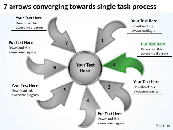 7 Arrows Converging Towards Single Task Process Target Network PowerPoint Slides