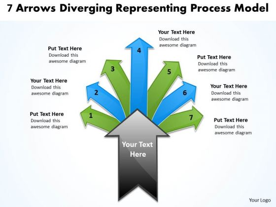 7 Arrows Diverging Representing Process Model Circular Layout Network PowerPoint Slides