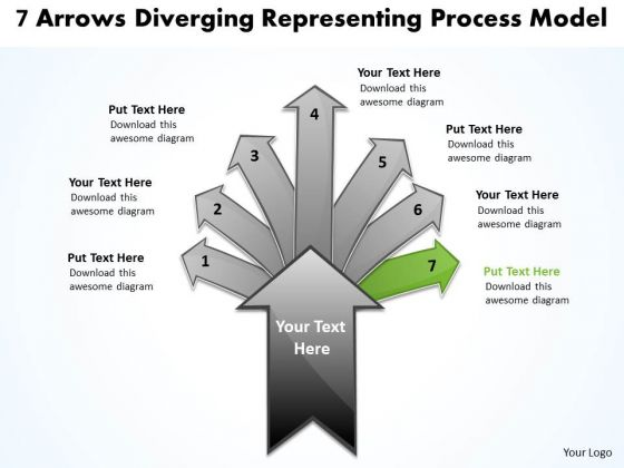 7 Arrows Diverging Representing Process Model Cycle Flow PowerPoint Templates