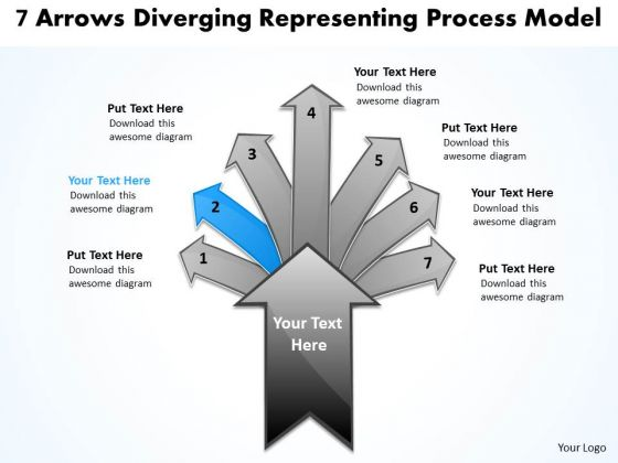 7 Arrows Diverging Representing Process Model Cycle Motion PowerPoint Templates