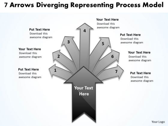 7 Arrows Diverging Representing Process Model Pie Diagram PowerPoint Templates