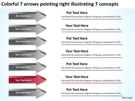 7 Arrows Pointing Right Illustrating Concepts Make Business Plan PowerPoint Slides