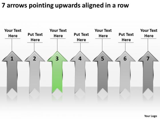 7 Arrows Pointing Upwards Aligned Ppt Sample Plan For Business PowerPoint Slides