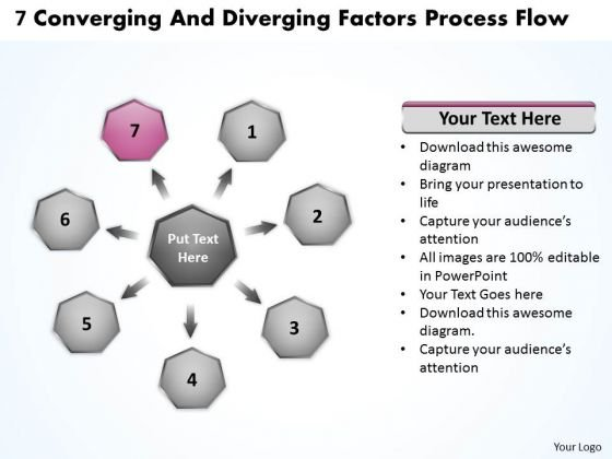 7 Converging And Diverging Factors Process Flow Cycle Arrow Chart PowerPoint Slides