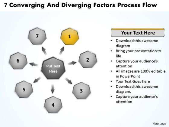 7 Converging And Diverging Factors Process Flow Pie Diagram PowerPoint Templates