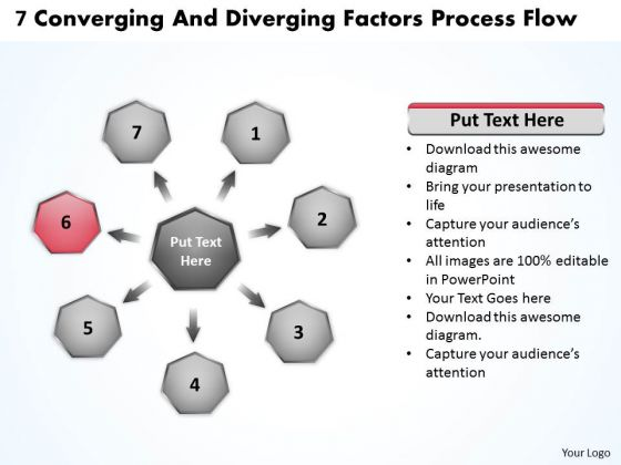7 Converging And Diverging Factors Process Flow Ppt Cycle Network PowerPoint Templates
