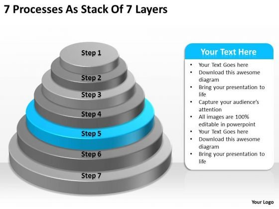 7 Processess As Stack Of Layers Business Plan PowerPoint Slides