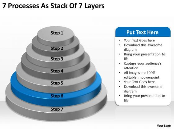 7 Processess As Stack Of Layers Business Plans Examples PowerPoint Templates