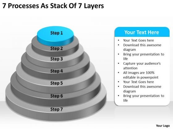 7 Processess As Stack Of Layers Ppt Business Plan PowerPoint Templates