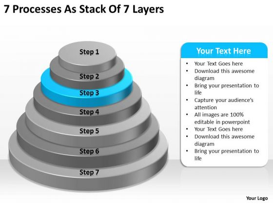 7 Processess As Stack Of Layers Ppt How To Complete Business Plan PowerPoint Slides