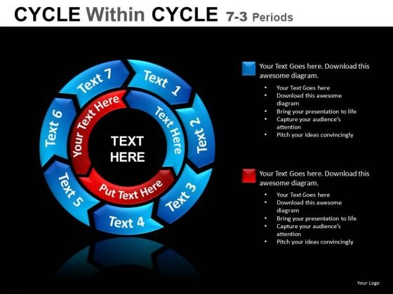 7 Stage 2 Layers PowerPoint Cycle Process Chart Diagram For Ppt Slides