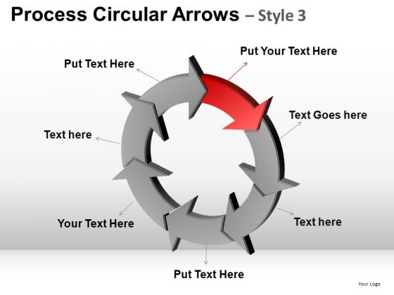 7 Stage Process Circular Arrows PowerPoint Slides Download