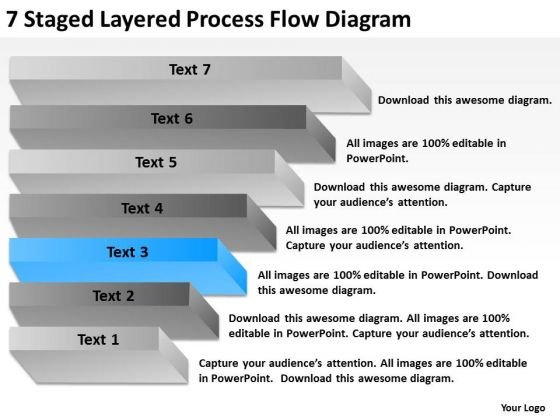 7 Staged Layered Process Flow Diagram Business Plan PowerPoint Slides
