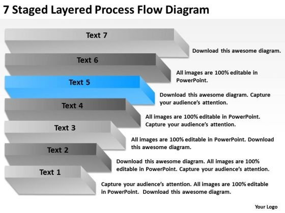 7 Staged Layered Process Flow Diagram Ppt Business Plan Example PowerPoint Slides