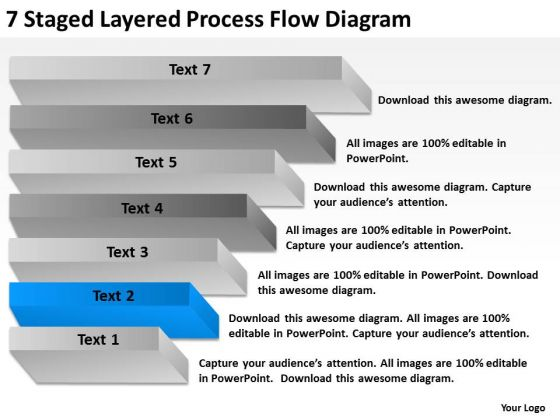 7 Staged Layered Process Flow Diagram Ppt Business Plan PowerPoint Slides