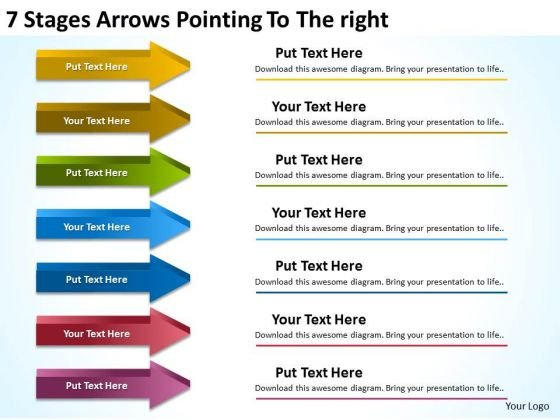 7 Stages Arrows Pointing To The Right Hair Salon Business Plan PowerPoint Slides
