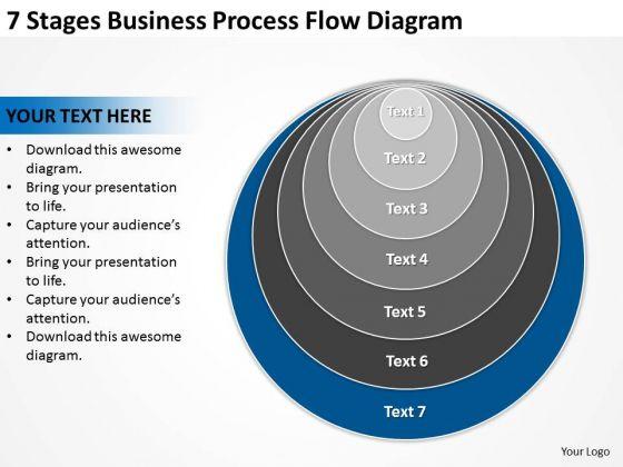 7 Stages Business Process Flow Diagram Plan PowerPoint Templates