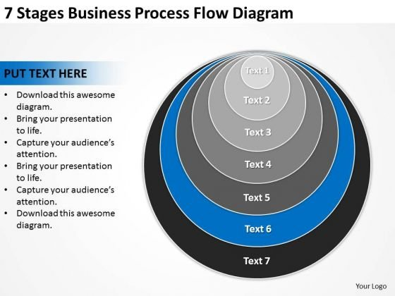 7 Stages Business Process Flow Diagram Ppt Plan PowerPoint Template