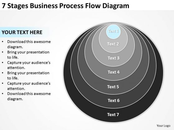 7 Stages Business Process Flow Diagram Ppt Plan PowerPoint Templates
