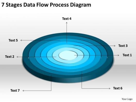 7 Stages Data Flow Process Diagram Business Plan PowerPoint Templates