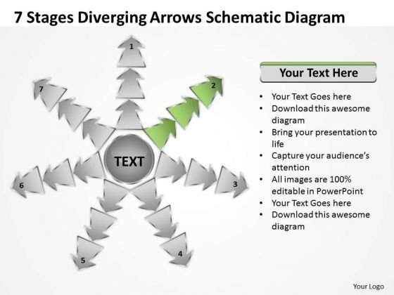 7 Stages Diverging Arrows Schematic Diagram Charts And Networks PowerPoint Slide