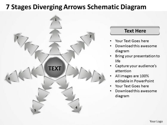 7 Stages Diverging Arrows Schematic Diagram Charts And Networks PowerPoint Slides