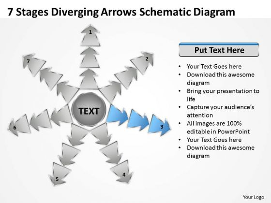 7 Stages Diverging Arrows Schematic Diagram Ppt Charts And Networks PowerPoint Slide