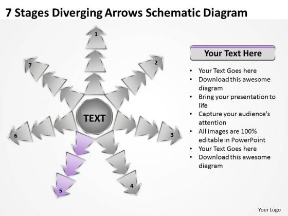 7 Stages Diverging Arrows Schematic Diagram Ppt Software PowerPoint Slide