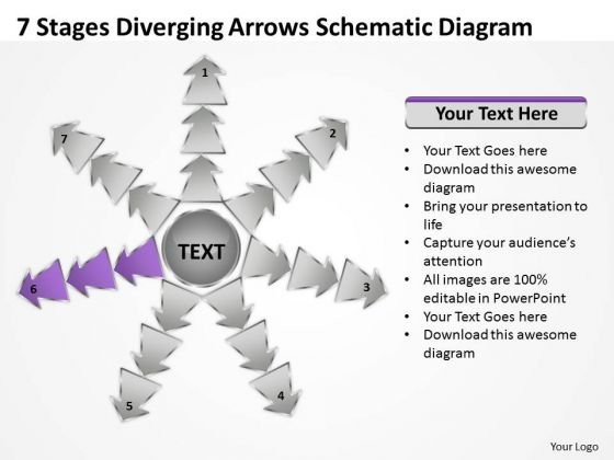 7 Stages Diverging Arrows Schematic Diagram Ppt Software PowerPoint Slides