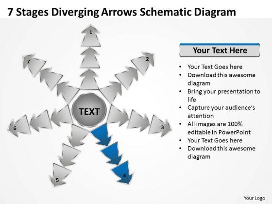 7 Stages Diverging Arrows Schematic Diagram Software PowerPoint Slides