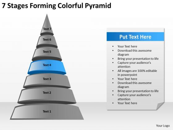 7 Stages Forming Colorful Pyramid Business Plan PowerPoint Slides