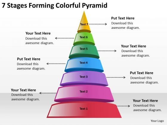 7 Stages Forming Colorful Pyramid Business Plan PowerPoint Templates