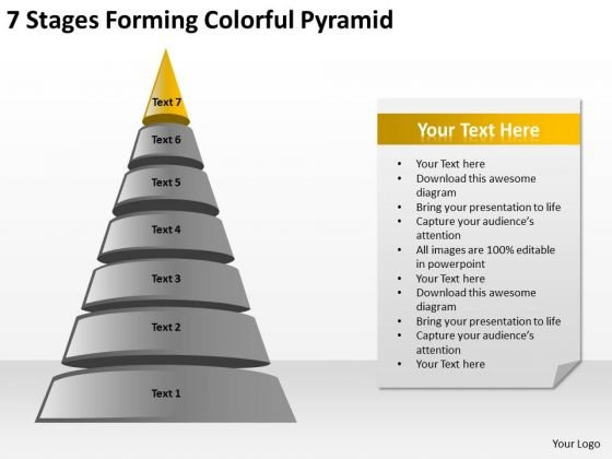 7 Stages Forming Colorful Pyramid Ppt Business Development Plans PowerPoint Templates