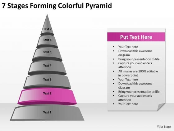 7 Stages Forming Colorful Pyramid Ppt Business Plan PowerPoint Slides